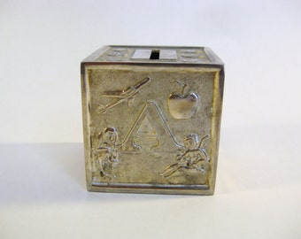 Silver plated ABC Block Coin Bank