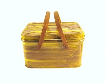 Vintage Wood Grain Picnic Tin