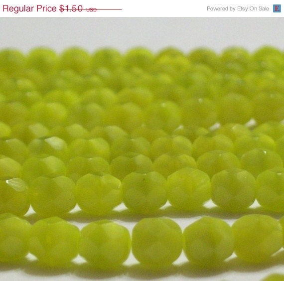 Inventory Clearance - Czech Fire-Polished Glass Faceted Round - 6mm - Chartreuse Swirl - 20 Beads