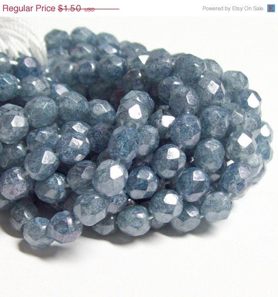 Inventory Clearance - Czech Fire-Polished Glass Faceted Round - 6mm - Cornflower Blue Picasso Luster - 20 Beads