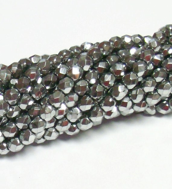 Czech Fire-Polished Glass Faceted Round - 4mm - Chrome (Metallic) - 50 Beads