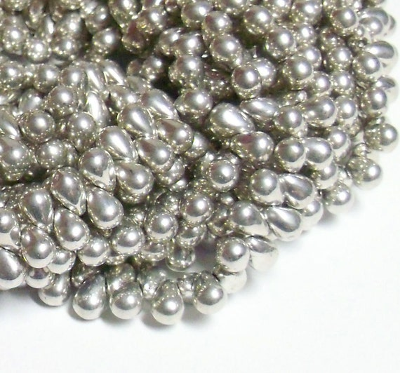 Czech Glass Teardrop - 4x6mm - Silver (Metallic) - 50 Beads