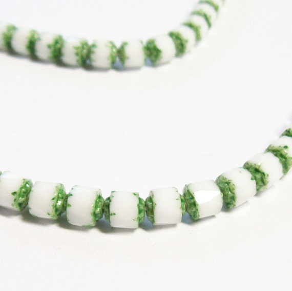 Czech Vintage-Style Faceted Cathedral Barrel - 6mm - Opaque White with green - 20 beads