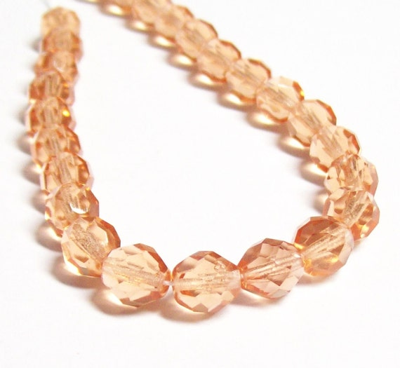 SALE - Czech Fire-Polished Glass Faceted Round - 8mm - Peach - 20 Beads
