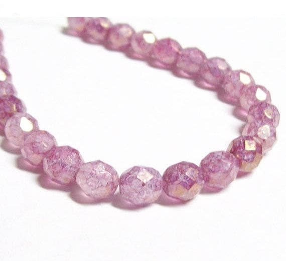 Czech Fire-Polished Glass Faceted Round - 8mm - Mauve Picasso Luster - 20 Beads