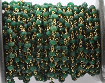 emerald afceted roundel varmeil chain