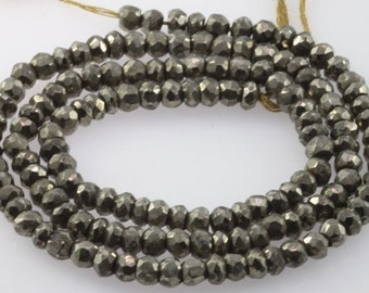 pyrite facedted roundel 4mm