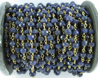 blue sapphire faceted 5mm roundel with varmeil chain