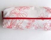 Large Boxy Pencil Case in Red and White