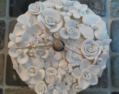 White Flowers Polymer Clay Clock