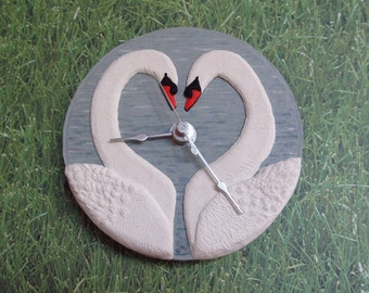 Swans in Love Polymer Clay Clock