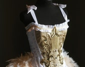 OLYMPIAN - White Gold Burlesque Corset Costume Halloween S-XL