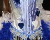 ALICE - Burlesque Corset Costume Showgirl Hearts -Blue White