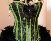 POISON IVY Burlesque Corset Showgirl Costume green black Halloween dress XL 36