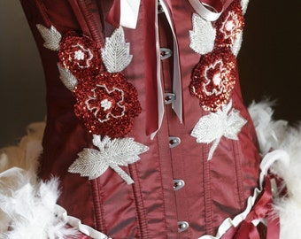 ROSE RED - White Burlesque Corset Costume with feather fascinator Valentines dress