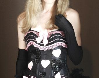 XXL PINKY - Burlesque Corset Costume, Queen of Hearts, Pink Black
