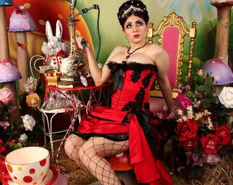 GYPSY Steampunk Red Black Burlesque Costume Prom Corset saloon girl dress