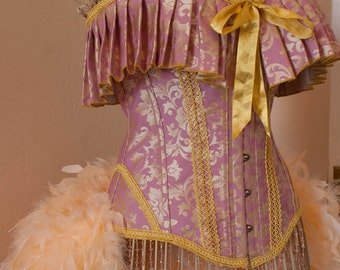 ELIZABETH Burlesque Corset Costume pink & gold bridal victorian dress