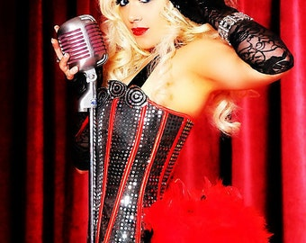 DIVA Plus Size Burlesque Corset Costume Red Black Halloween party circus dress 2XL