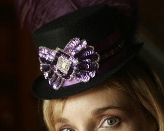 Purple and Black Burlesque Circus Mini Top Hat Fascinator for your Costume