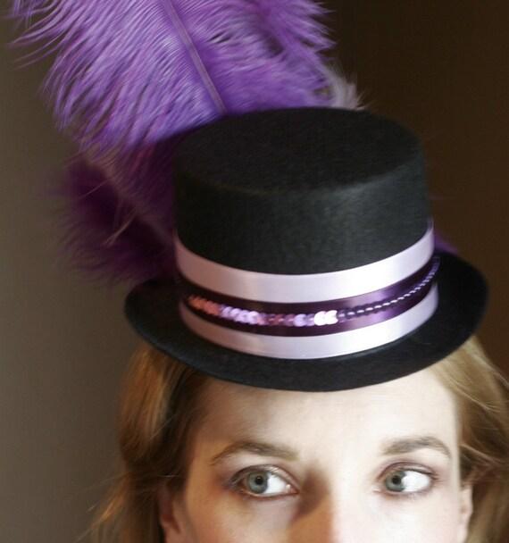 Purple and Lavender  Mardi Gras Mini Top Hat - Burlesque Showgirl Style
