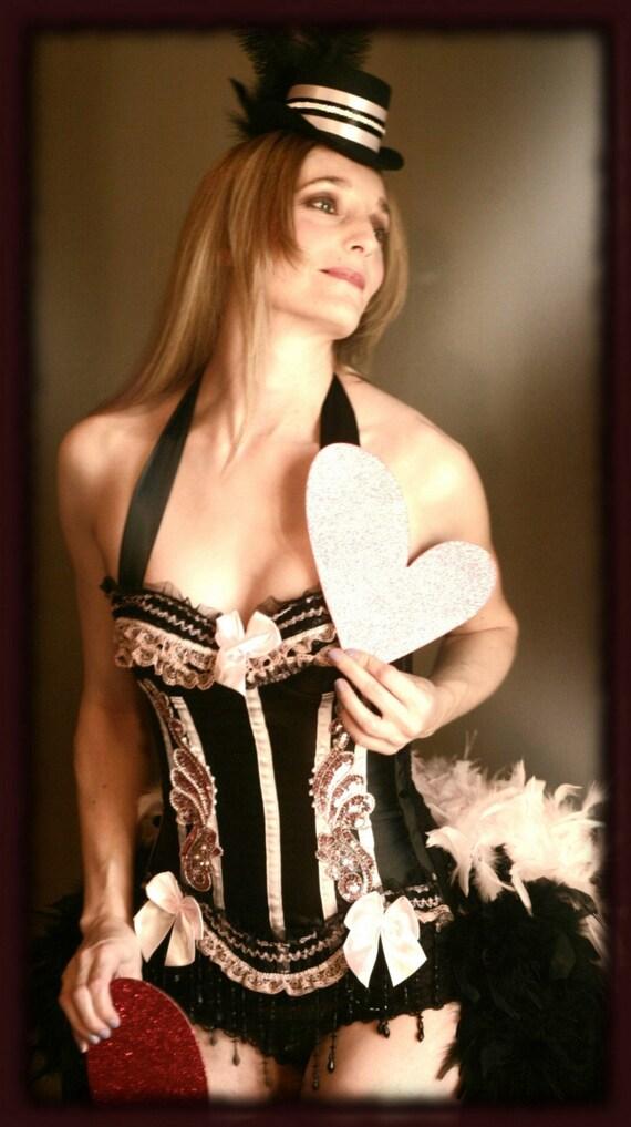 Pink black burlesque corset costume dress the barrymore las vegas