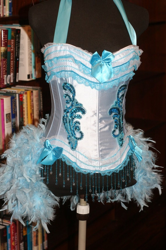 IRIS Blue Burlesque corset costume Showgirl feathered outfit - EVERYTHING INCLUDED