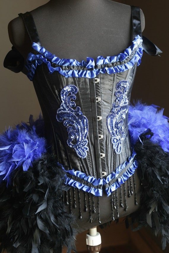 BLACK IRIS Burlesque Feather Dress Saloon Costume showgirl gothic corset