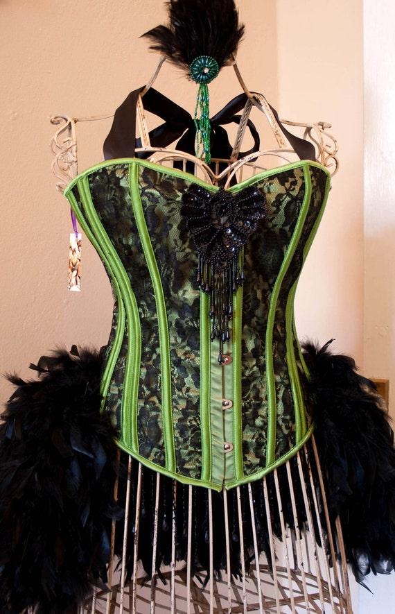 POISON IVY Black green Burlesque Corset Mardi Gras costume, with gloves, undies, fishnets