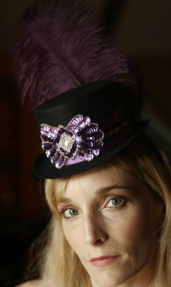 Purple and Black Burlesque Circus Mini Top Hat Fascinator for your Costume