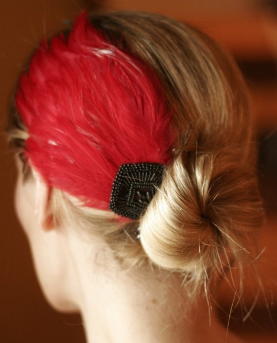 Beautiful RED burlesque wedding feather fascintor with gorgeous black hand-beaded applique