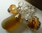 TOFFEE Sea Glass Necklace - Lampwork  Pendant & Czech Glass - Sterling Silver