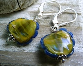 BUTTERCUP Artisan Borosilicate Glass Earrings - Chartreuse - Sterling Silver