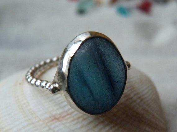 NORTH SEA II - Blue Sea Glass Multi & Sterling Silver Ring - Size 7-1/4
