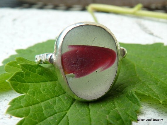 COMET Red Sea Glass Ring - Genuine English Seaglass Multi - Sterling Silver - Size 8-1/2