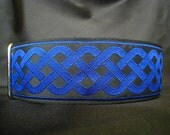 Celtic Knot Blue 1, 1.5 or 2 inch Martingale Dog Greyhound Collar for Any Breed - Free Custom Sizing