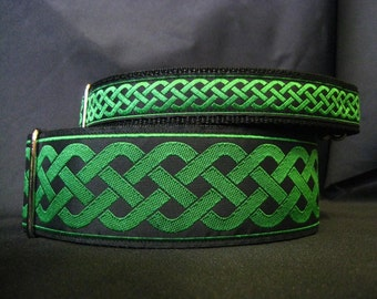 Celtic Knot Green 1, 1.5 or 2 Inch Martingale Dog Greyhound Collar - Free Custom Sizing