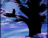 Veilchenblau Dämmerung, Druckbild von Originalkunstwerken