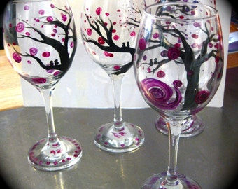 Hand Painted Wine Glasses, Mulberry set of 4