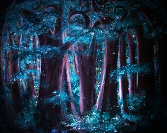Twilight Grove at Night print, image of original artwork