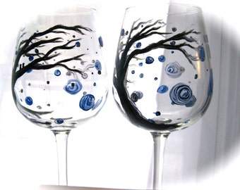 Hand Painted Wine Glasses, Winter Frost, set of 2