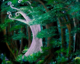 Secret Grove print, image of original artwork, fairy tale, enchanted forest, white tree, swirly tree