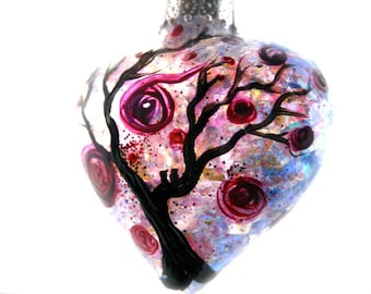 hand painted glass ornament, heart shaped glass