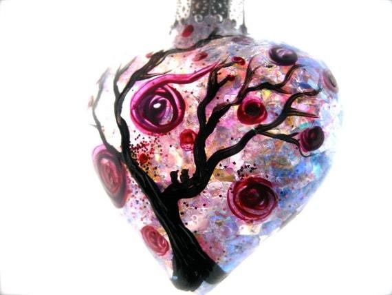 Glass Heart Ornament, Cheer