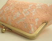 Bridal Wedding Clutch Peach Lace  Ivory Champagne Large Size Purse Clutch Bag Ready to Ship