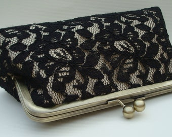 Black lace and champagne satin large size purse classic beauty bridesmaid gift sample listing