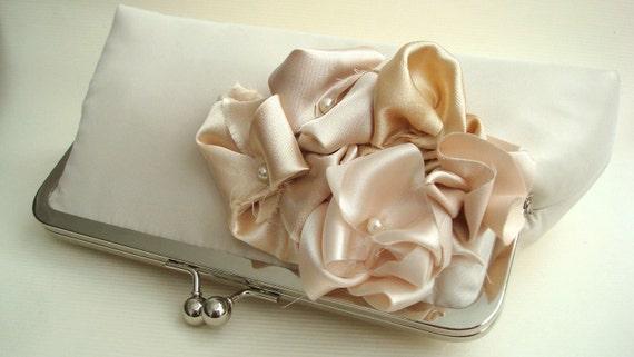 Wedding Purse Shades of Beige Champagne Floral Taffeta Satin Clutch UK  Seller Sample Listing