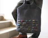 SALE 30%  S-UNIVERSAL / Unisex grey felted messenger handbag OOAK