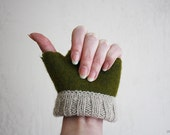 Mossy / felted fingerless - gloves/ Women's size XS Ready for dispatch now