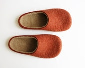 Terra Cotta  Felted wool slippers